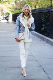 katie's bliss - a personal style blog based in nyc,blogger,bag,jewels,sweater,scarf,sunglasses,gloves,shearling jacket,blue jacket,fall outfits,turtleneck sweater,knitted sweater,winter sweater,nude bag,nude heels,fur collar jacket