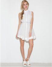 dress,white,white dress,summer,summer dress,cute,baby doll,cute dress,babydoll dress,collar,collared dress,sleeveless,korean fashion,korean style,korean trends,nanda style,daily look,ootd,pixie market,pixie market girl