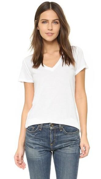 v neck light white top