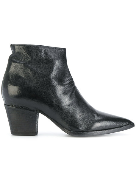 OFFICINE CREATIVE zip women ankle boots leather black shoes