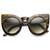 Designer Inspired Large Round Circle Pointed Cat Eye Sunglasses 9180                           | zeroUV
