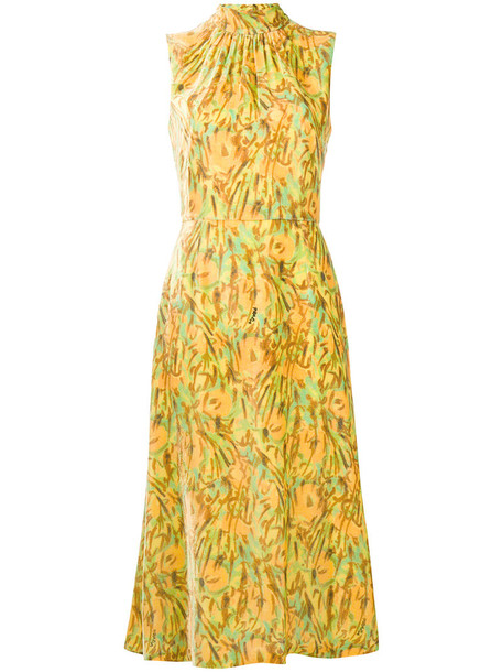 Prada dress midi dress women midi print silk yellow orange