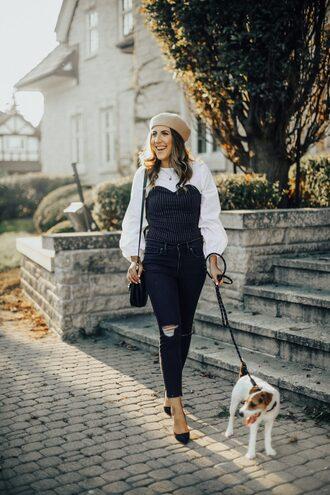 stephanie sterjovski - life + style blogger top shoes bag beret fall outfits pumps shoulder bag