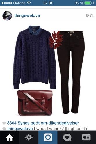 sweater black jeans blue transparent  bag autumn bag