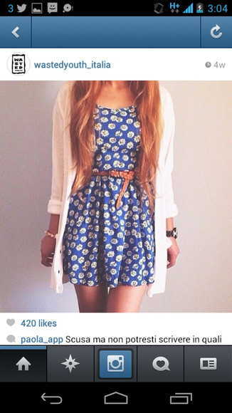 dress white cardigan blue dress flower dress brown belt short dress