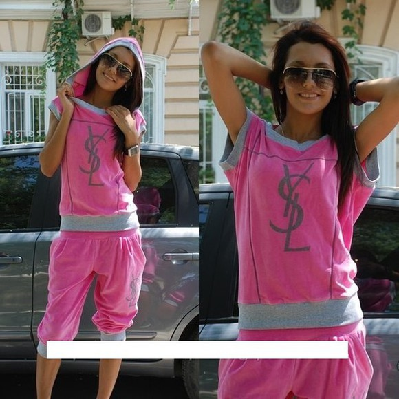 ysl jumpsuit velour sweatsuit shorts pink summer outfits tracksuit