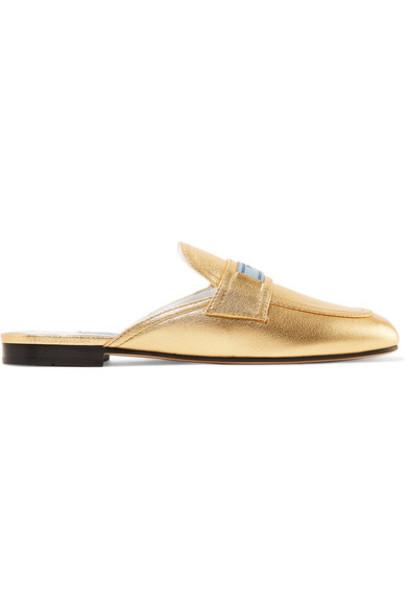 Prada metallic slippers gold leather shoes