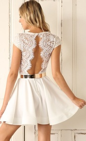 dress,white,lace,metallic,belt,metallic belt,gold belt,shiny belt,short sleeve,lucy in the sky