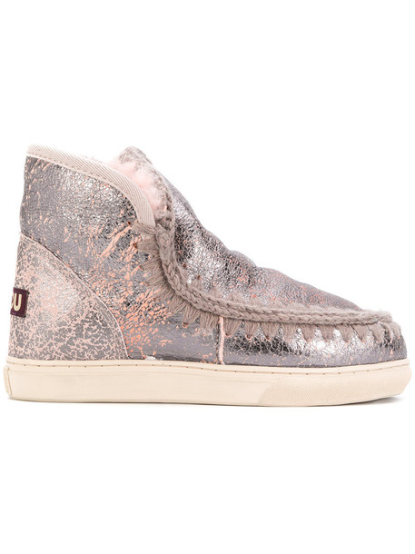 Mou women embellished boots grey metallic shoes