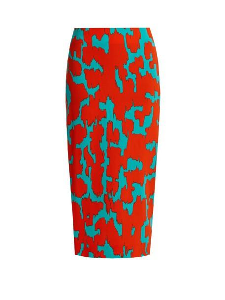 skirt pencil skirt print orange