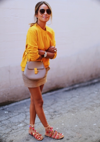 sincerely jules blogger sweater skirt bag shoes mustard sweater