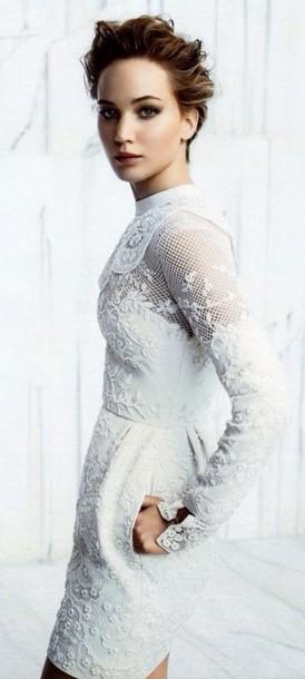 Short long sleeve lace embellished dress