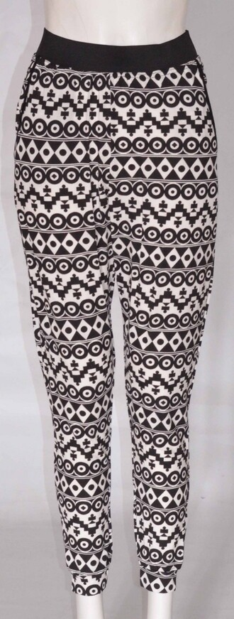 jeans womens aztec print casual trouser black