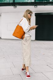 sweater,white sweater,tumblr,bag,orange,pants,cropped pants,stripes,striped pants,sneakers,red sneakers,vans,low top sneakers