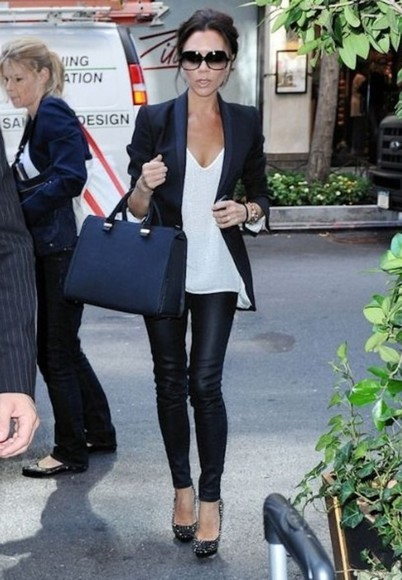 white tee blouse fitted blazer black blazer fitted lesther leggings victoria beckham