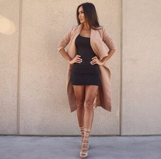 coat shoes lace up heels tan nude high heels camel coat camel tumblr tumblr outfit bag swag dress nude dress black dress heels long pretty sexy gorgeous beautiful girly fashion pink lovely love fashion vibe fashion week 2016 fashion toast fashion coolture fashion is a playground waterfall coat