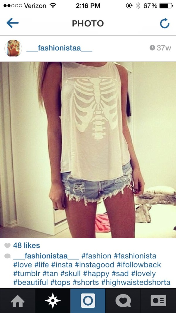 shorts cut off shorts high waisted denim shorts blouse tank top skull denim shorts High waisted shorts