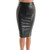 Grey Leather Accent Pencil Skirt | Emprada
