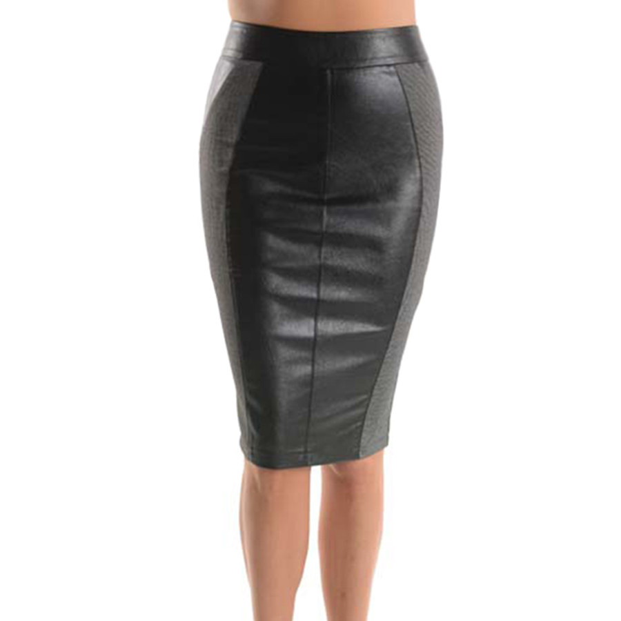 Grey Leather Accent Pencil Skirt Emprada