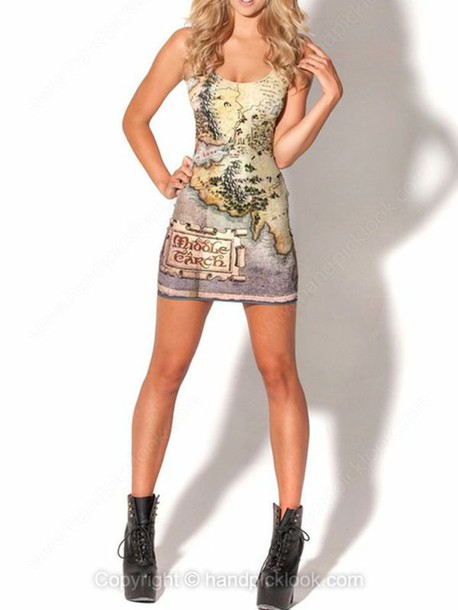 Dress bodycon bodycon dress the hobbit middle earth map map