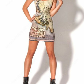 dress middle earth lord of the rings bodycon dress the hobbit map dress map print the middle