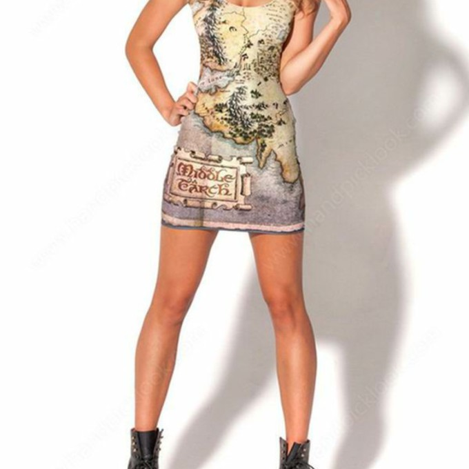 dress bodycon bodycon dress the hobbit middle earth map map dress map print lord of the rings the middle