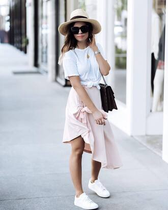 skirt hat sunglasses tumblr asymmetrical asymmetrical skirt pink skirt sneakers white sneakers low top sneakers sun hat top