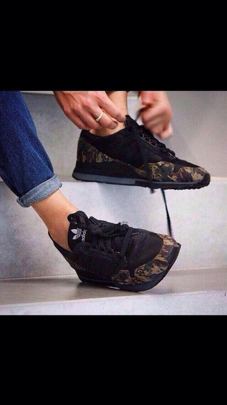 shoes adidas sneakers runners trainers camo camouflage black girls boys running running shoes laces