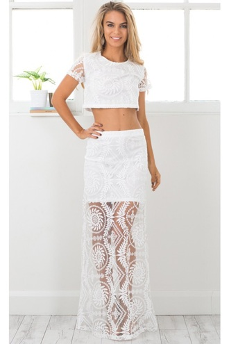 dress white white dress white top white crop tops two-piece two piece dress set lace dress lace lace top