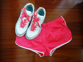 shoes,nike,nike sneakers,nike shoes,shorts,bright sneakers,sportswear,hot pink,pink,white,bright