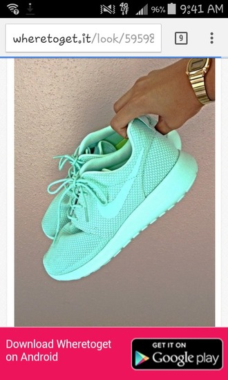 shoes neon mint mesh nike roshe runs women?