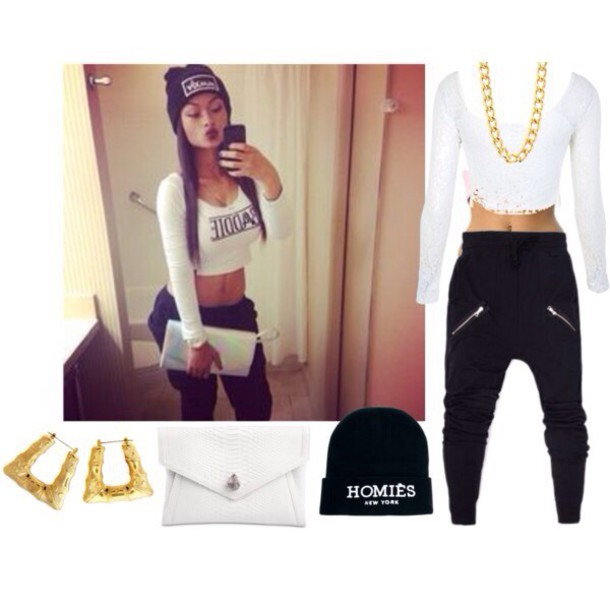 jewels outfit cropped clutch earrings vintage gold chain necklace black beanie asos polyvore india westbrooks sweatpants homies white crop tops jeans shirt pants black