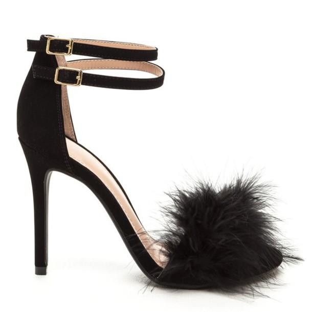 1879cf6ccd1 shoes heels black black shoes black heels open toes open toe heels open toes  fur fur