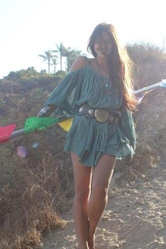 dress teal dress western western chic classy flowy loose dress