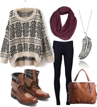 sweater jumper whool pattern bag shoes scarf leggings jewels