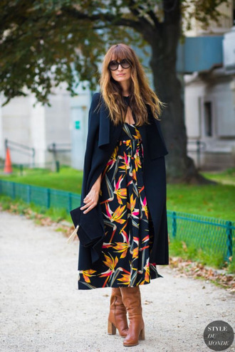 dress caroline de maigret model fashionista floral dress floral maxi dress maxi dress coat blue coat trench coat boots brown boots sunglasses fall outfits black sunglasses