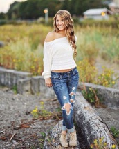white sweater,ripped jeans,off the shoulder sweater,boots,booties shoes,flowers,jeans