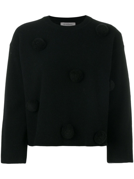 Sportmax sweater women spandex embellished ball black wool