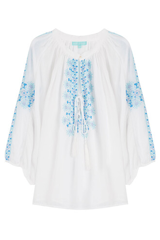 blouse tunic embroidered white top
