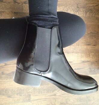 shoes black boots black ankle boots boots black ankle boots grunge hipster chunky high heeled chelsea boots chunky sole ankle high anklr
