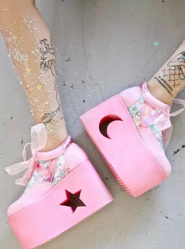 Shoes grunge tumblr platform shoes pink shoes pastel for Pastel goth tattoos