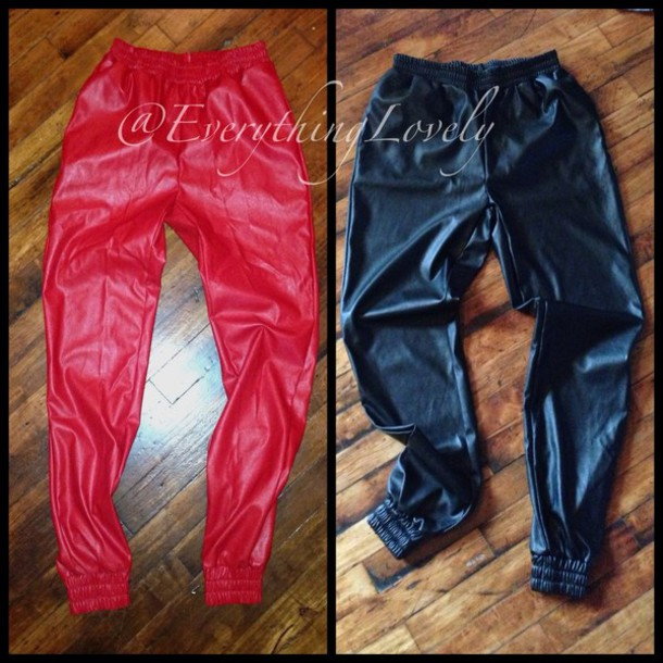 pants leather track pants track joggers cuffs trendy fall trend