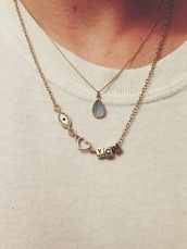 jewels,necklace,i love you,eye,cute,tumblr,heart,you,gold necklace,jumpsuit,blue,love
