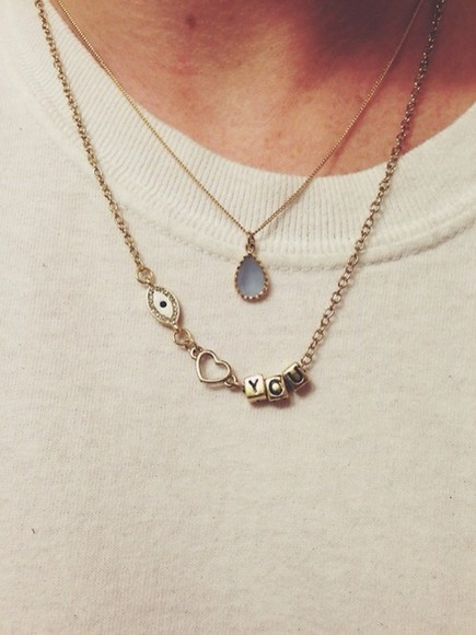 jewels necklace eye gold necklace cute iloveyou tumblr heart you jumpsuit blue neckless love