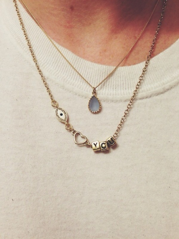 jewels necklace i love you eye cute tumblr heart you gold necklace jumpsuit blue necklace love