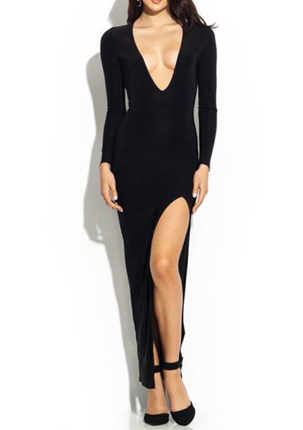 black maxi dress black dress black dress deep v cut dress deep v cut maxi  dress 826f9d037fa6