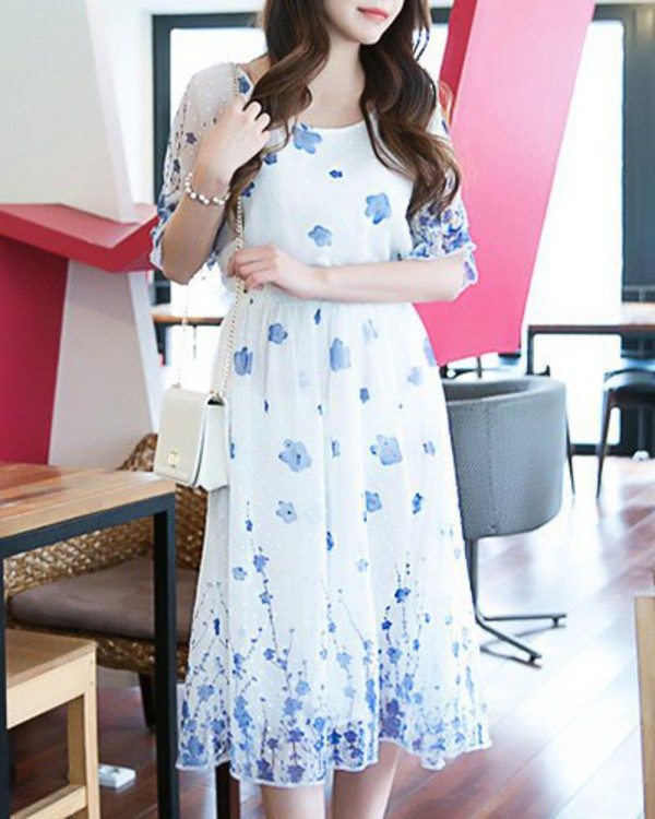 dress floral blue fashion style cute spring midi dress gamiss flowers