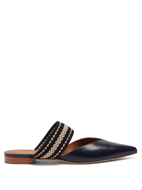 backless flats leather navy shoes