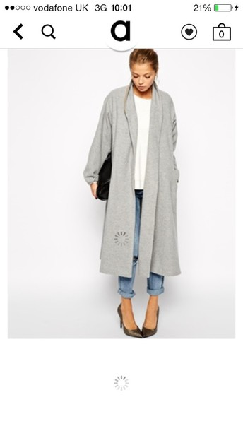 Coat: grey, grey coat, fashion coat, fashion, fall outfits, spring ...
