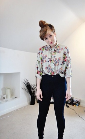blouse floral floral print blouse high waisted jeans black spring vintage 80s style